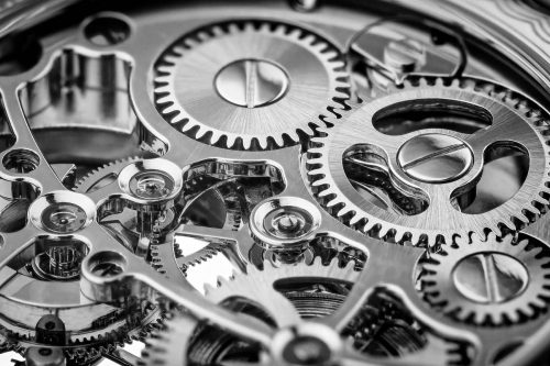 Gros plan du mécanisme d'une montre