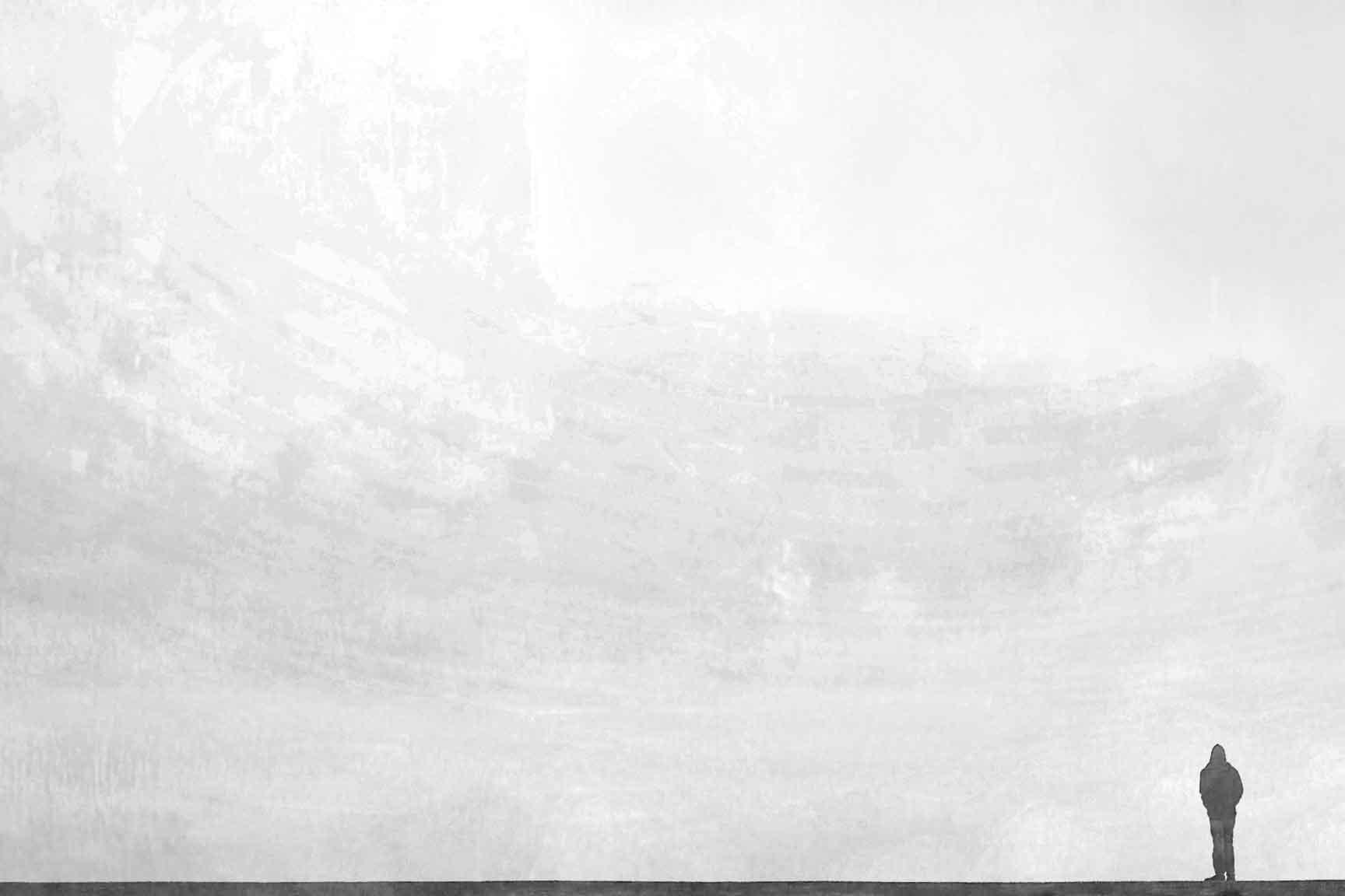 Un homme seul debout devant le vide